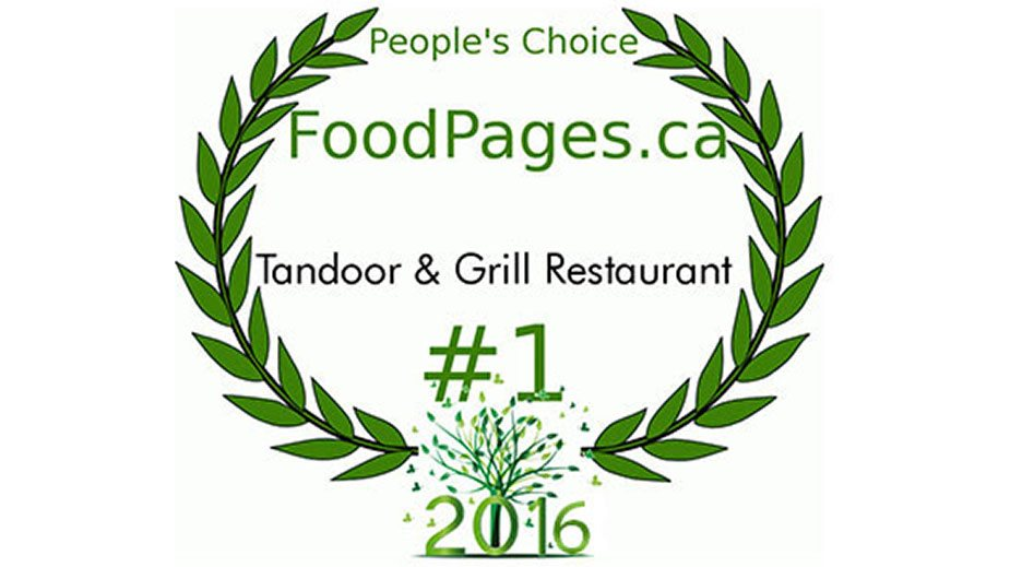 Green laurel crown leaf icons represent the FoodPages.ca People's Choice award for #1 Restaurant of 2016 to the Tandoor & Grill located at the Stanford Fernie Resort.