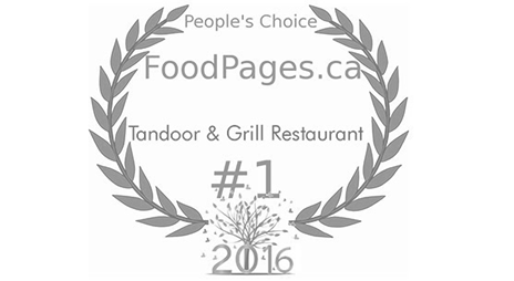 Two feather like leaf motifs in grey represent the Foodpages.ca People's Choice award logo for #1 restaurant to Tandoor & Grill located onsite at Stanford Fernie Resort in British Columbia.