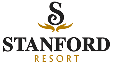 Small corporate logo of the Stanford Fernie Resort featuring the capital letter S and Stanford in black lettering, and Resort written in gold lettering with two gold motifs underscoring the letter S.